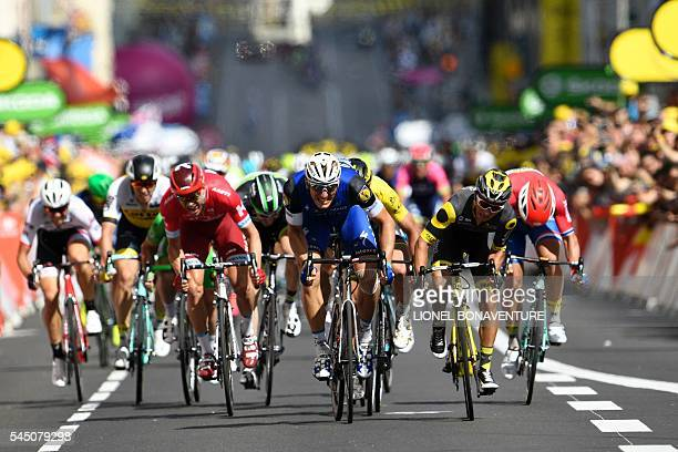 Germany's Marcel Kittel sprints to win ahead of France's Bryan Coquard during the 2375 km fouth stage of the 103rd edition of the Tour de France...