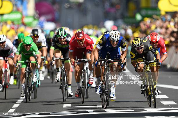 Germany's Marcel Kittel sprints to win ahead of France's Bryan Coquard during the 2375 km fourth stage of the 103rd edition of the Tour de France...