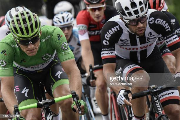 Germany's Marcel Kittel wearing the best sprinter's green jersey rides in a breakaway with Australia's Michael Matthews during the 2145 km twelfth...