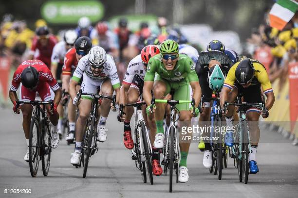 Germany's Marcel Kittel wearing the best sprinter's green jersey sprints to win ahead of Germany's John Degenkolb at the finish line at the end of...
