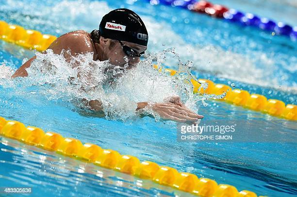 Germany's Marco Koch competes in the final of the men's 200m breaststroke swimming event at the 2015 FINA World Championships in Kazan on August 7...