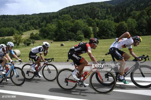 Germany's Marcus Burghardt Belgium's Greg Van Avermaet Australia's Michael Matthews and Belgium's Jan Bakelants ride in a breakaway during the 1875...