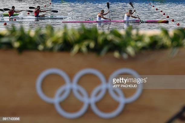 TOPSHOT Germany's Marcus Gross and Germany's Max Rendschmidt compete to win the Men's Kayak Double 1000m final at the Lagoa Stadium during the Rio...