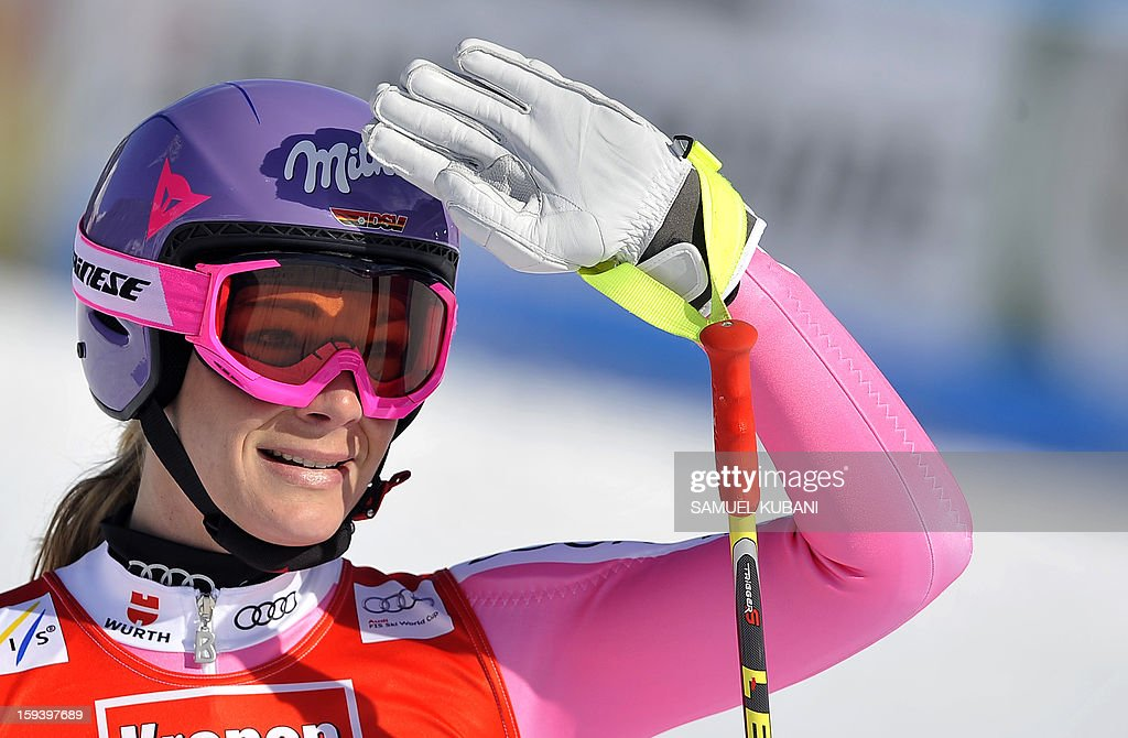 Germany's Maria Hoefl - Riesch reacts in finish area at the women's World Cup Super G, on January 13, 2013 in St Anton am Arlberg, Austria. Slovenia's Tina Maze won ahead of Austria's Anna Fenninger and Switzerland's Fabienne Suter.