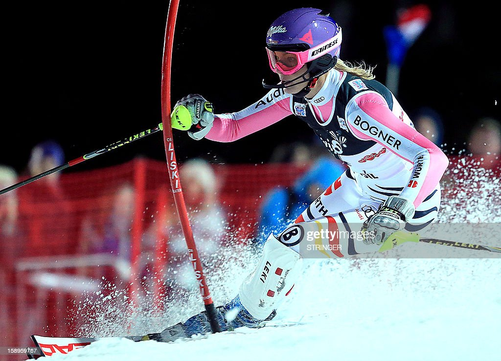 Germany's Maria Hoefl-Reisch competes during the women's FIS slalom competition race in Sljeme, near Zagreb, on January 4, 2013. AFP PHOTO/ Stringer