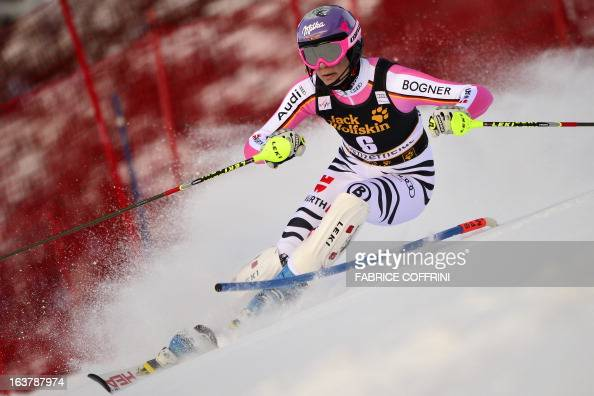 Germany's Maria HoeflRiesch competes during the Women Slalom race at the Alpine ski World Cup finals on March 16 2013 in Lenzerheide AFP PHOTO /...