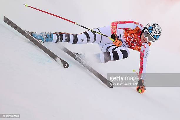 Germany's Maria HoeflRiesch competes during the Women's Alpine Skiing Super Combined Downhill at the Rosa Khutor Alpine Center during the Sochi...