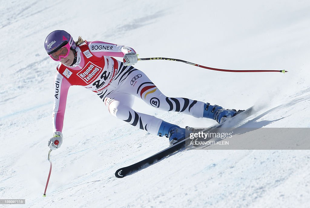 Germany's Maria Hoefl-Riesch competes during the women's World Cup Super G, on January 13, 2013 in St Anton am Arlberg, Austria. Slovenia's Tina Maze won ahead of Austria's Anna Fenninger and Switzerland's Fabienne Suter.