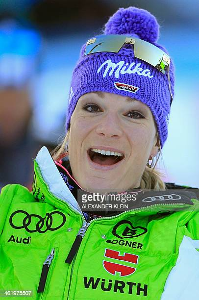Germany's Maria HoeflRiesch reacts in the finish area after competing in the slalom race as part of the Women's Super Combined event of the FIS World...