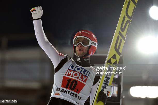 Germany's Markus Eisenbichler celebrates after the Men's Large Hill Team Ski Jumping event of the 2017 FIS Nordic World Ski Championships in Lahti...