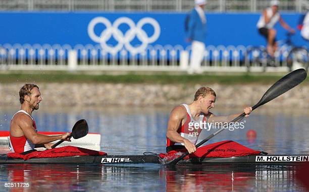 Germany's Martin Hollstein and Andreas Ihle compete in the 2008 Beijing Olympic Games Men's Kayak K2 1000m flatwater final at the Shunyi Rowing and...