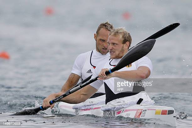 Germany's Martin Hollstein and Andreas Ihle compete in the men's kayak double K2 1000m event in Eton Dorney near Windsor at the London 2012 Olympic...