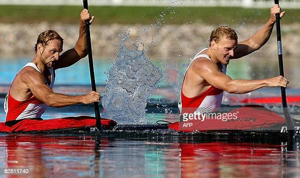 Germany's Martin Hollstein and Andreas Ihle conpete in the 2008 Beijing Olympic Games Men's Kayak K2 1000m flatwater final at the Shunyi Rowing and...