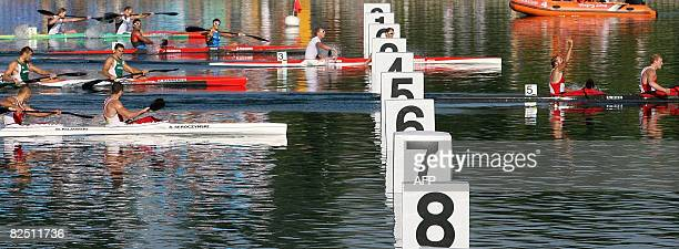 Germany's Martin Hollstein and Andreas Ihle cross the finish line in the first place during the 2008 Beijing Olympic Games Men's Kayak K2 1000m...