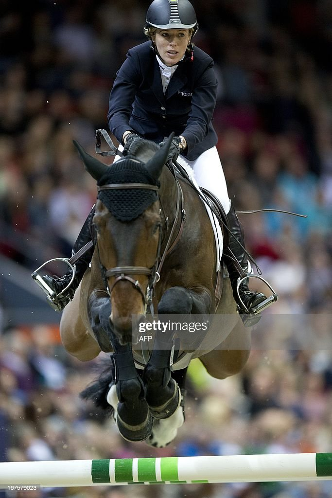 Germany´s Meredith Michaels-Beerbaum rides during the Rolex FEI World Cup Jumping final Friday April 26, 2013 during the Gothenburg Horse Show in Scandinavium.