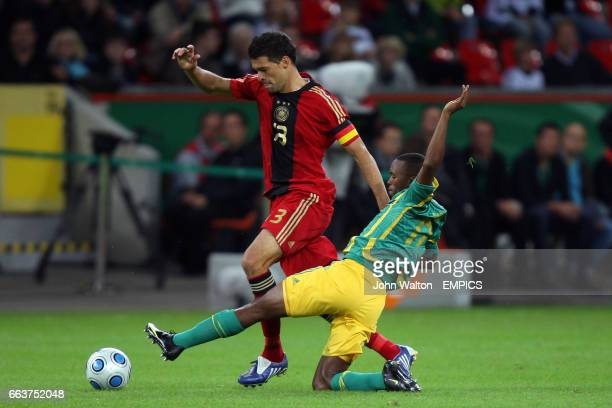 Germany's Michael Ballack and South Africa's Bernard Parker battle for the ball