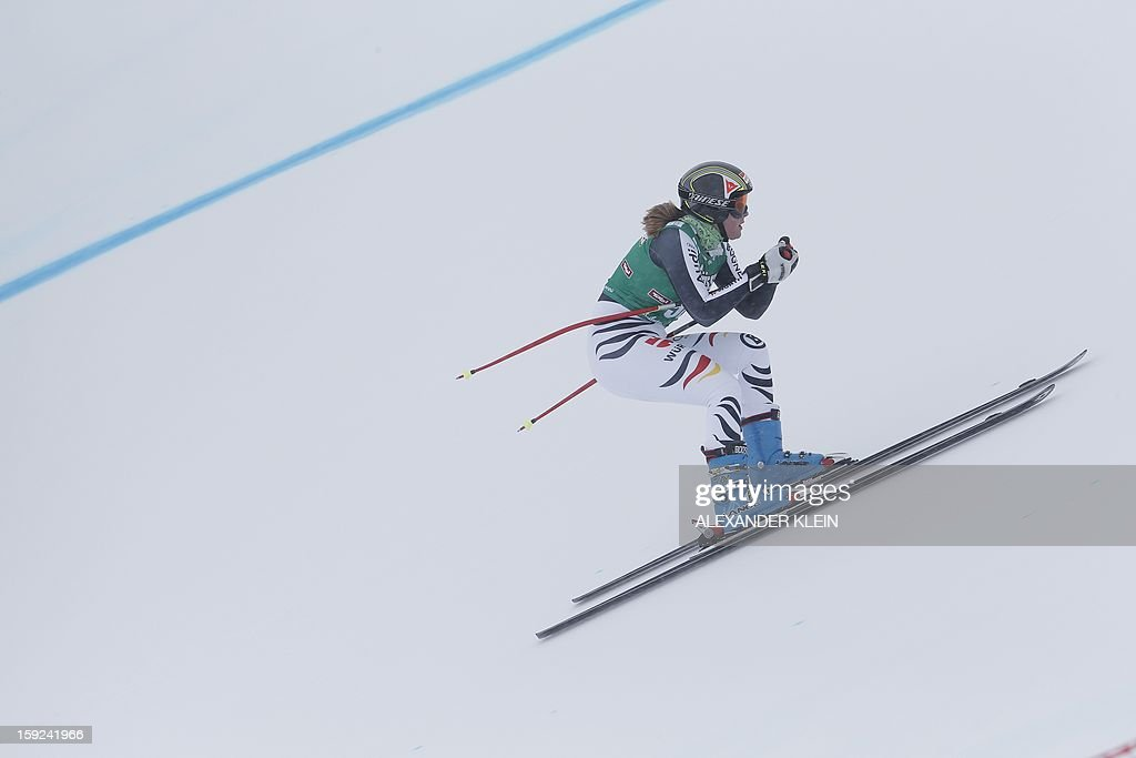 Germany's Michaela Wenig skies during the St Anton ladies downhill training session as part of the FIS Ski World Cup held in Sankt Anton am Arlberg on January 10, 2013.