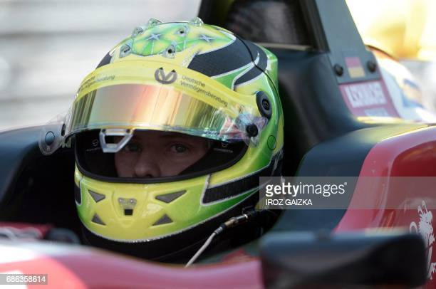 Germany's Mick Schumacher son of Formula One pilot Michael Schumacher sits in his car during the FIA Formula 3 European Championship on May 21 2017...