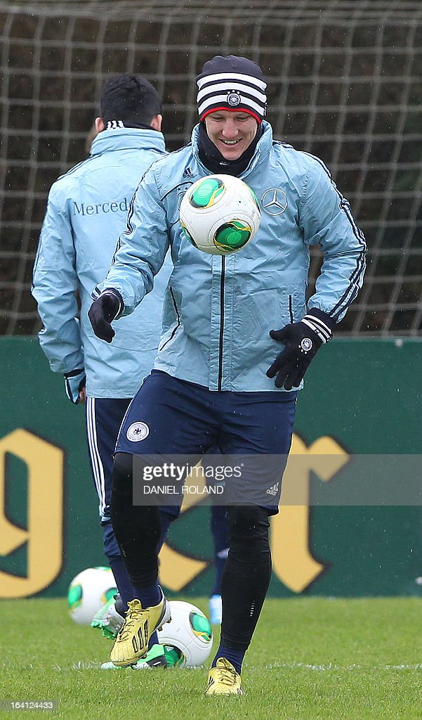 Germany's midfielder Bastian Schweinsteiger attends a training session of the German national football team prior to the World Cup qualifier against Kazakhstan in Frankfurt, Germany, on March 20, 2013.