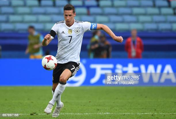 Germany's midfielder Julian Draxler plays the ball during the 2017 Confederations Cup group B football match between Australia and Germany at the...