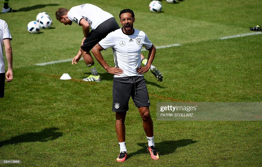Germany's midfielder Karim Bellarabi reacts during a training session as part of the team's preparation for the upcoming Euro 2016 European football championships, on May 26, 2016 in Ascona. / AFP / PATRIK