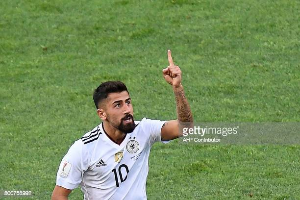 Germany's midfielder Kerem Demirbay celebrates after scoring a goal during the 2017 FIFA Confederations Cup group B football match between Germany...