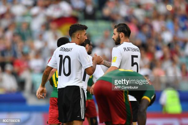 Germany's midfielder Kerem Demirbay celebrates with Germany's defender Marvin Plattenhardt after scoring a goal during the 2017 FIFA Confederations...
