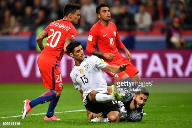 Germany's midfielder Lars Stindl looks on after kicking to score a goal past Chile's goalkeeper Johnny Herrera during the 2017 Confederations Cup...