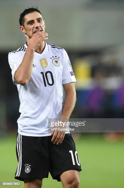 Germany's midfielder Lars Stindl reacts during the FIFA World Cup 2018 qualification football match between Germany and Azerbaijan in Kaiserslautern...
