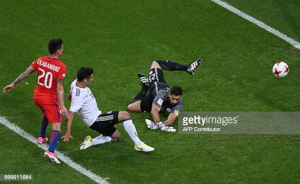 Germany's midfielder Lars Stindl scores a goal past Chile's goalkeeper Johnny Herrera during the 2017 Confederations Cup group B football match...