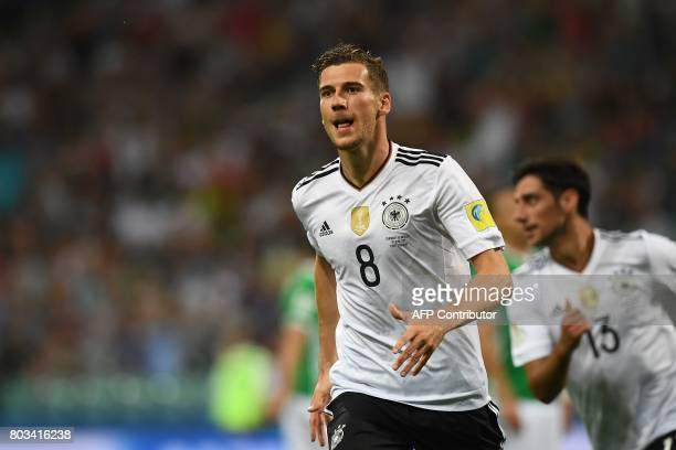 Germany's midfielder Leon Goretzka celebrates after scoring a goal during 2017 FIFA Confederations Cup semifinal football match between Germany and...