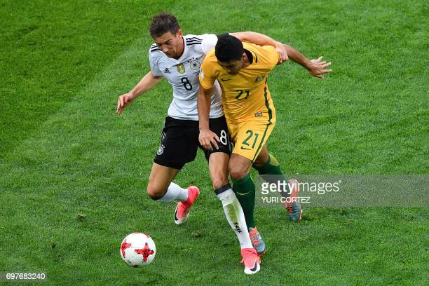 TOPSHOT Germany's midfielder Leon Goretzka fights for the ball against Australia's midfielder Massimo Luongo during the 2017 Confederations Cup group...