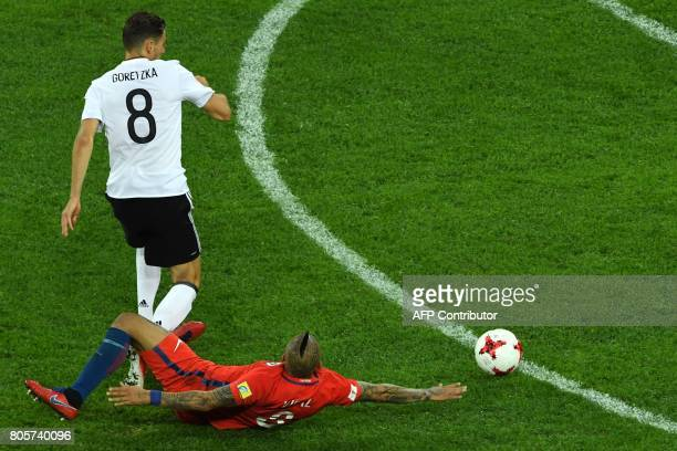 Germany's midfielder Leon Goretzka vies for the ball against Chile's midfielder Arturo Vidal during the 2017 Confederations Cup final football match...