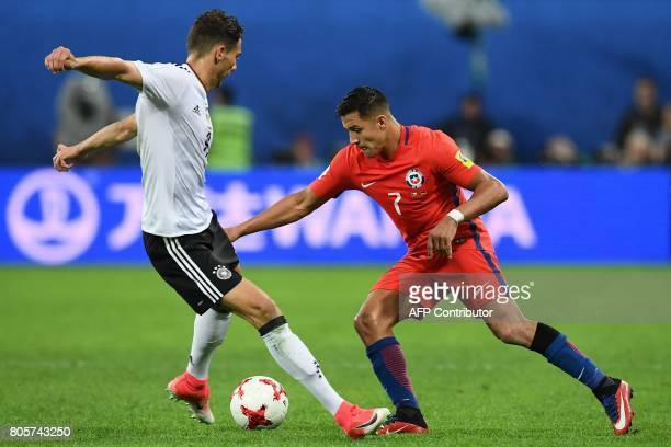 Germany's midfielder Leon Goretzka vies for the ball against Chile's forward Alexis Sanchez during the 2017 Confederations Cup final football match...