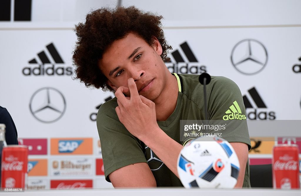 Germany's midfielder Leroy Sane gives a press conference on the sideline of the team's preparation for the upcoming Euro 2016 European football championships, on May 26, 2016 in Ascona. / AFP / PATRIK