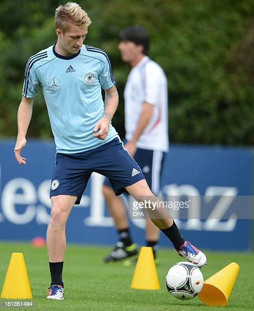 Germany's midfielder Marco Reus takes part in a training session of the German national soccer team in Barsinghausen northern Germany on September 6...