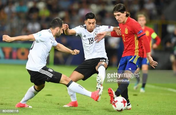 Germany's midfielder Nadiem Amiri and Spain's defender Hector Bellerin vie for the ball during the UEFA U21 European Championship football final...
