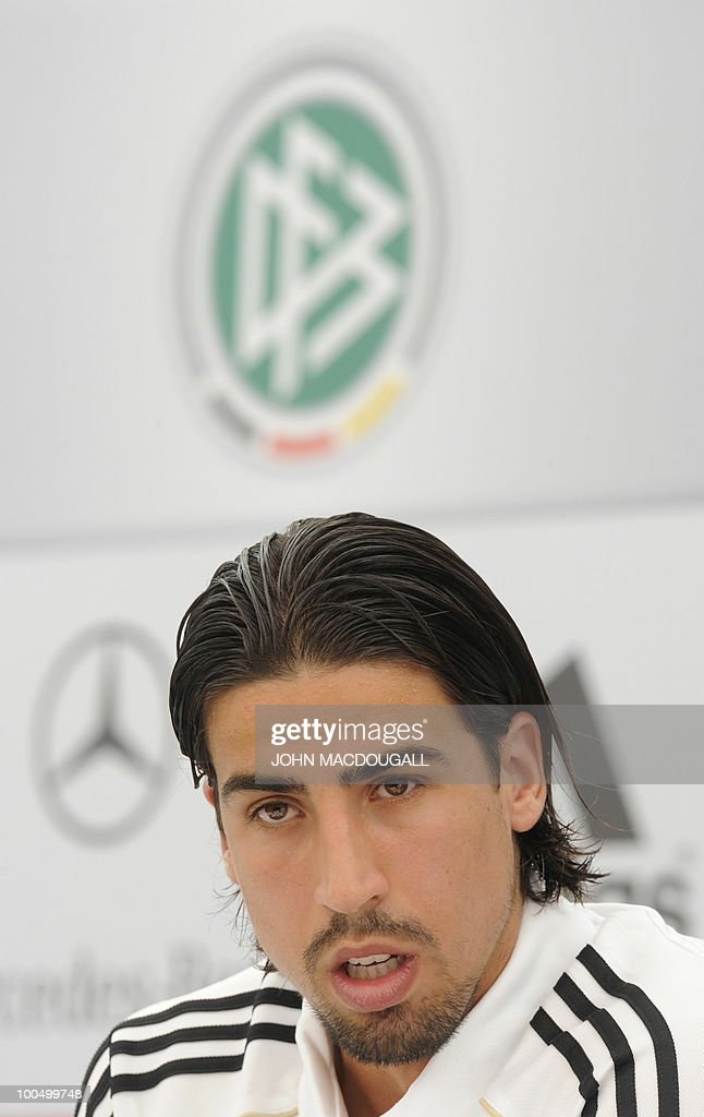 Germany's midfielder Sami Khedira addresses a press conference in Appiano, near the north Italian city of Bolzano May 24, 2010. The German football team is currently taking part in a 12-day training camp in Appiano to prepare for the upcoming FIFA Football World Cup in South Africa.