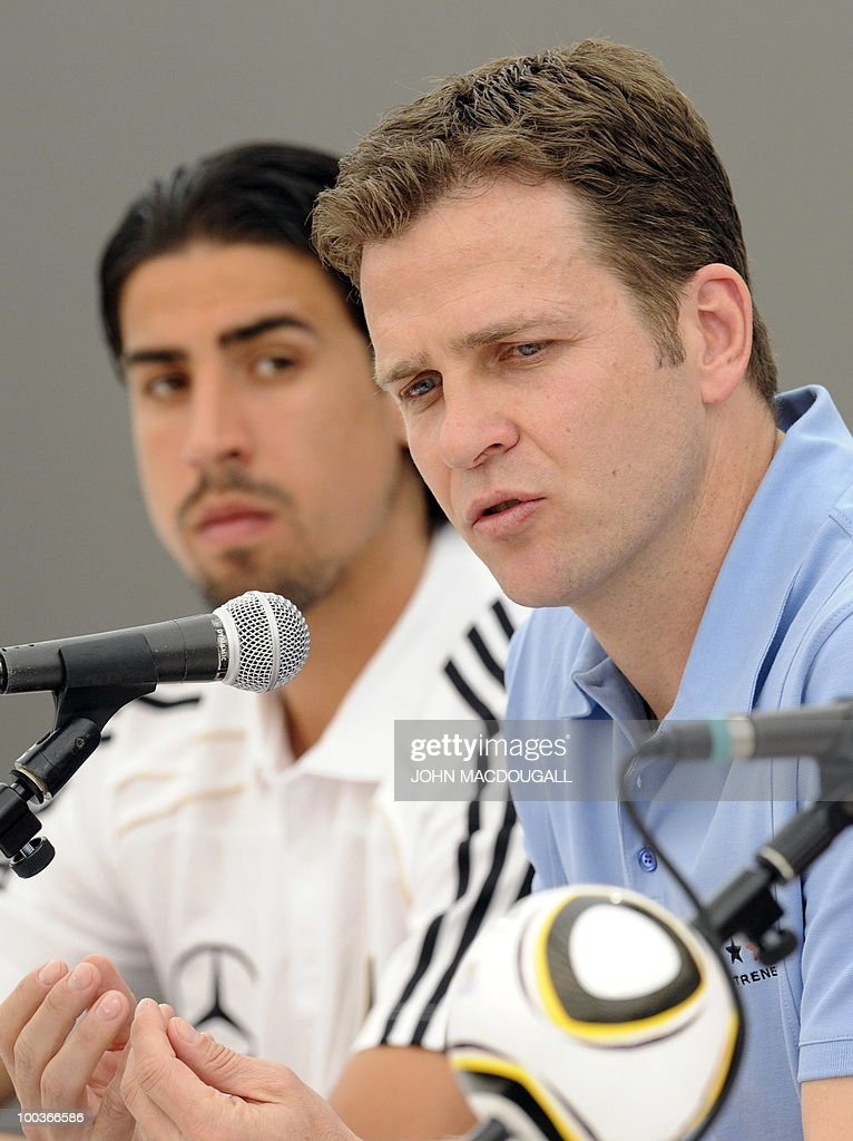 Germany's midfielder Sami Khedira (L) and Germany's team manager Oliver Bierhoff address a press conference in Appiano, near the north Italian city of Bolzano May 24, 2010. The German football team is currently taking part in a 12-day training camp in Appiano to prepare for the upcoming FIFA Football World Cup in South Africa.