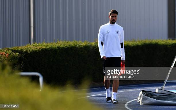 Germany's midfielder Sami Khedira attends a training session on march 24 2017 in KamenKaiserau western Germany ahead of the World Cup qualifying...