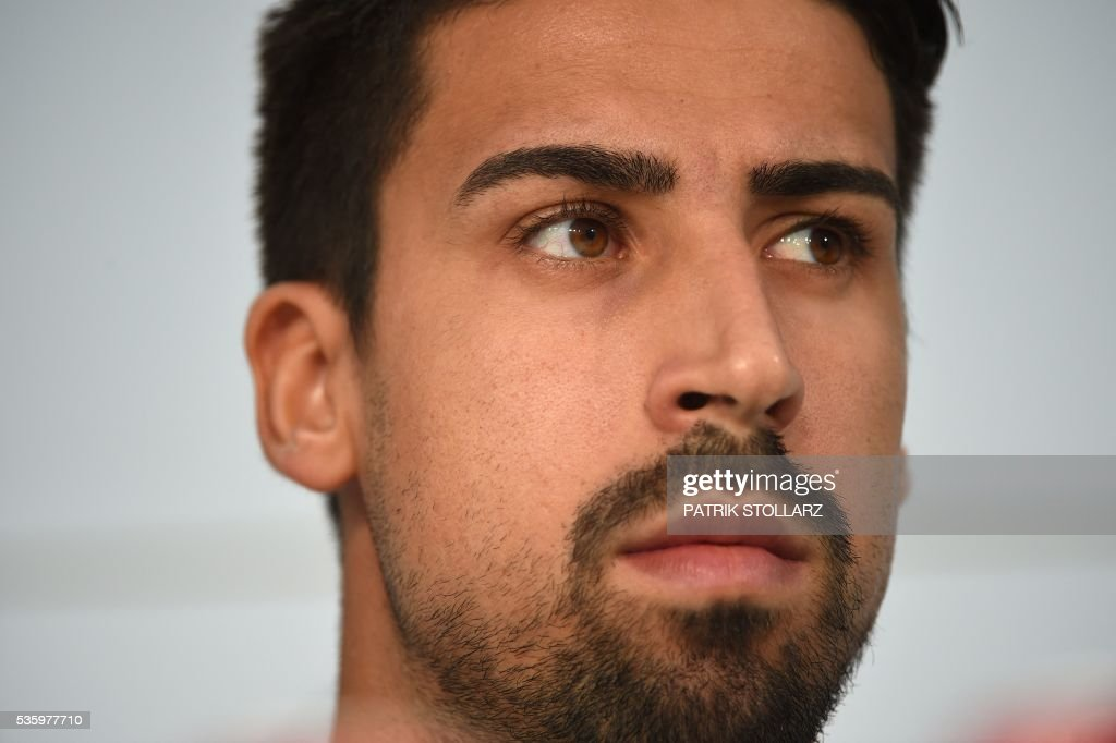 Germany's midfielder Sami Khedira is pictured as he gives a press conference on the sideline of the team's preparation for the upcoming Euro 2016 European football championships, on May 31, 2016 in Ascona. / AFP / PATRIK