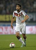 Germany's midfielder Sami Khedira plays the ball during the UEFA 2016 European Championship qualifying round Group D football match Germany vs...