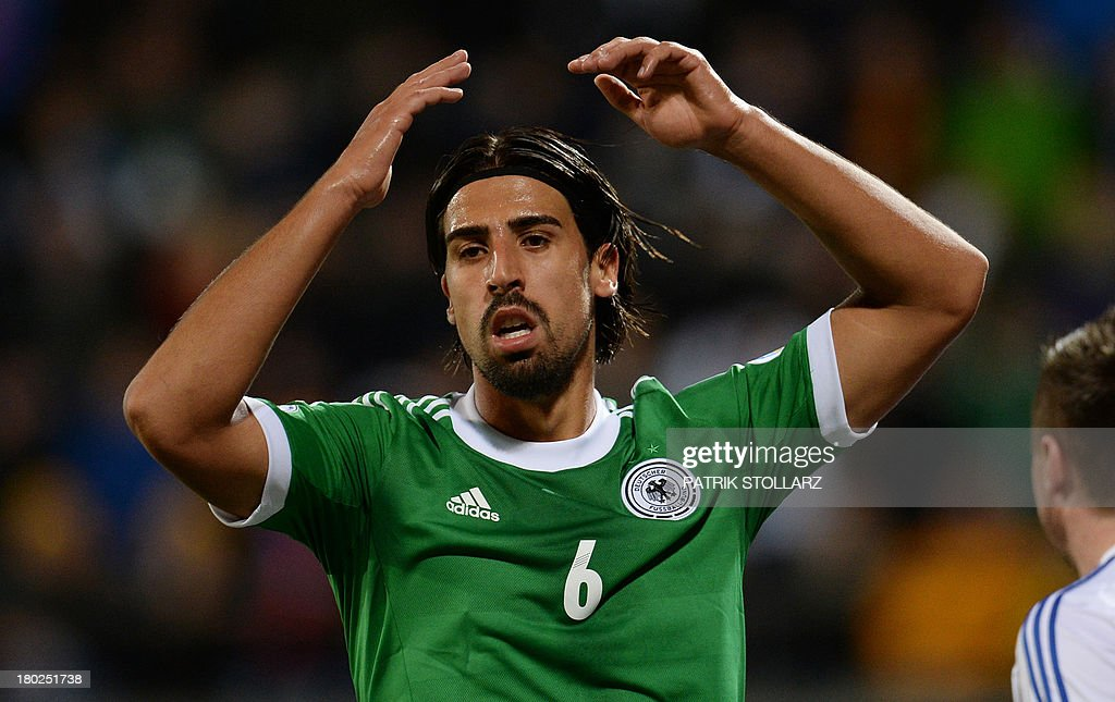 Germany's midfielder Sami Khedira reacts during the FIFA World Cup 2014 qualifying football match Faroe Island vs Germany in Torshavn on September 10, 2013.