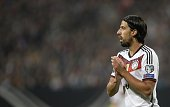 Germany's midfielder Sami Khedira reacts during the UEFA 2016 European Championship qualifying round Group D football match Germany vs Gibraltar in...