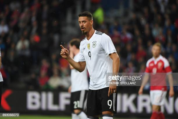 Germany's midfielder Sandro Wagner reacts during the friendly football match between Denmark and Germany in Brondby Denmark on June 6 2017 / AFP...
