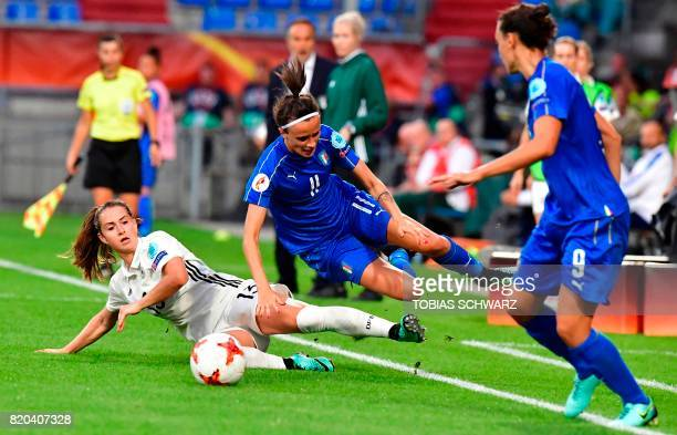 Germany's midfielder Sara Daebritz vies with Italy's midfielder Barbara Bonansea during the UEFA Women's Euro 2017 football tournament between...