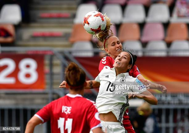 Germany's midfielder Sara DoorsounKhajeh and Denmark's defender Line Roddik head the ball during the quarterfinal UEFA Women's Euro 2017 football...