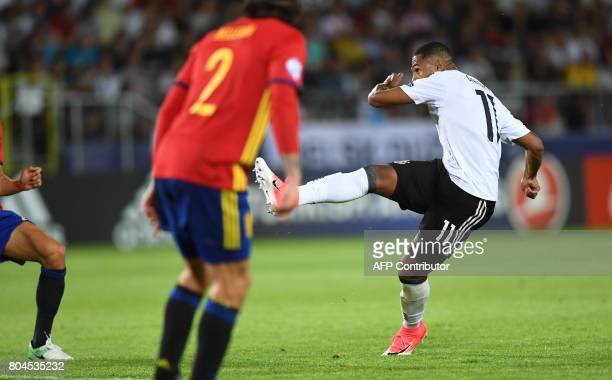 Germany's midfielder Serge Gnabry kicks the ball during the UEFA U21 European Championship football final match Germany v Spain in Krakow Poland on...