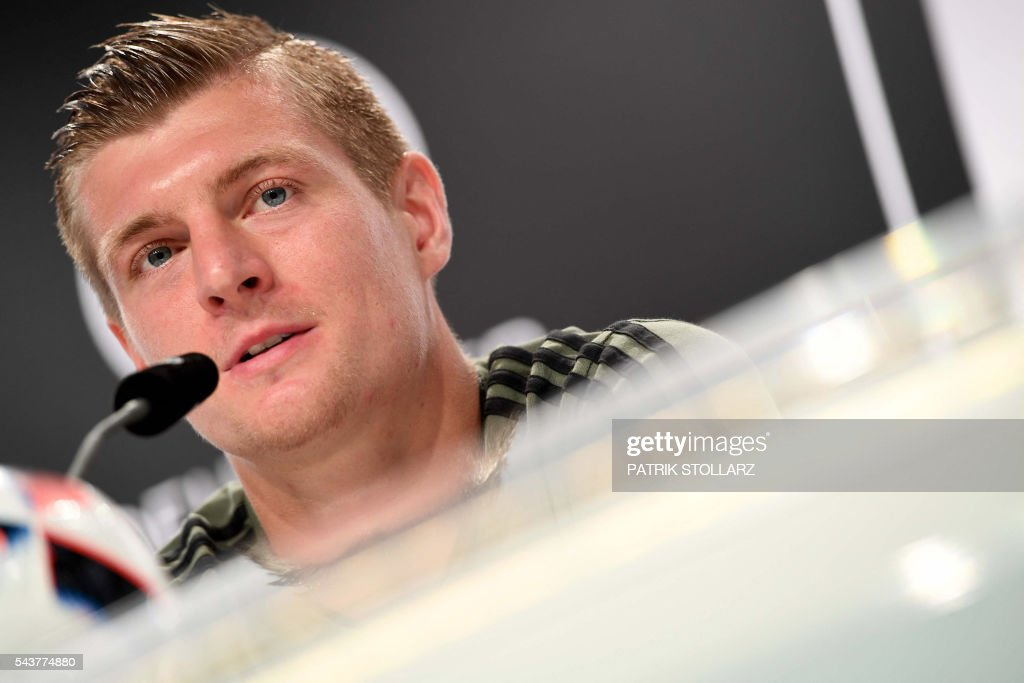 Germany's midfielder Toni Kroos addresses a press conference at their training grounds in Evian-les-Bains, eastern France, on June 30, 2016, during the Euro 2016 football tournament. / AFP / PATRIK