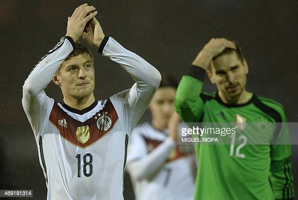 Germany's midfielder Toni Kroos celebrates at the end of the friendly football match Spain vs Germany at the Balaidos stadium in Vigo on November 18...